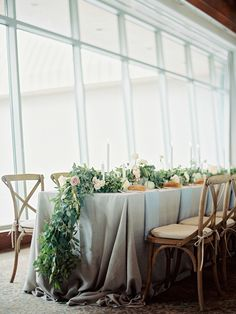 Beautiful green leaf and floral table runner