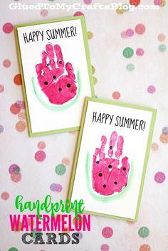Handprint Watermelon Cards - Kid Craft
