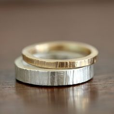 Wood Grain stacking ring set sterling silver and gold by Praxis Jewelry
