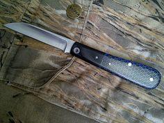 custom made by kroo - Wharncliffe Swayback in blue c-tek.. Love the C-Tek handle