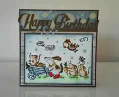 """Happy Birthday/ Penny Black clearstamp """"critter fun"""""""