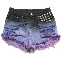 Studded and dip dyed high waisted jean shorts L ($50) ❤ liked on Polyvore