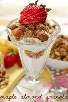 Maple Almond Granola is a perfectly crunchy with a subtle maple flavor. So easy to make at home, and WAY less sugar than store-bought granola! | iowagirleats.com
