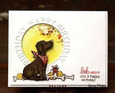 Happy Birthday Card by Larissa Heskett | Fetching Friendship Dog Stamp set by Newton's Nook Designs