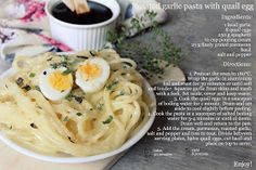 set meal.: Roasted garlic pasta with quail egg