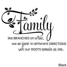 Family Like Branches On A Tree Two Tone Vinyl Wall Decal