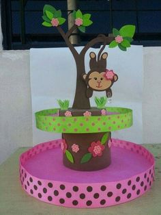 New baby shower ideas centros de mesa para varon Ideas Foam Crafts, Diy And Crafts, Crafts For Kids, Paper Crafts, Jungle Party, Safari Party, Trendy Baby, Monkey Girl, Mod Monkey