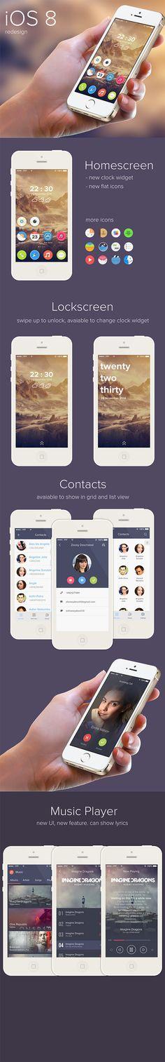 iOS 8 redesign by Ghani Pradita, via Behance #ui #interface #mobile #iOS8