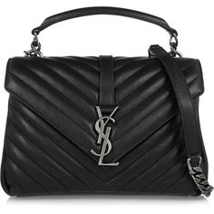 Saint Laurent College medium quilted leather shoulder bag (1.455.810 CLP) ❤ liked on Polyvore featuring bags, handbags, shoulder bags, väskor, black, handbags shoulder bags, man bag, shoulder hand bags, handbag purse and yves saint laurent handbags