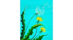 Beginner Dandelion Acrylic Painting Spring Floral Tutorial