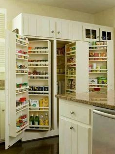 Small kitchen maximizing cupboard space.