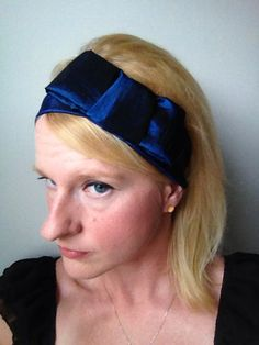 Love a pretty, preppy Blair Waldorf headband. Deep Blue Something Solid 2 Inch Width Headband with bow by TheBlondeFactory on Etsy, $16.00 #headband #bow #preppy #blue