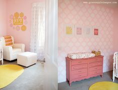 You Are My Sunshine nursery.  Perfect name!  I love these colors - not too much pink, cheery yellow and orange accents.  Any baby would be happy here! @See Vanessa Craft.com