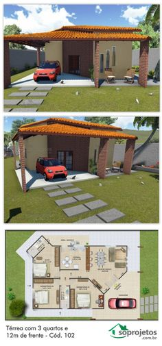 Floor plan with 3 bedrooms and from the front - Cod. Simple House Plans, Dream House Plans, Tiny House Plans, House Floor Plans, Bungalow, Concept Home, Backyard Garden Design, Sims House, Model Homes