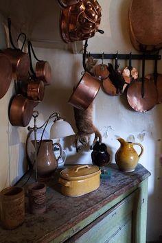 copper pots and pans, kitchen, rustic