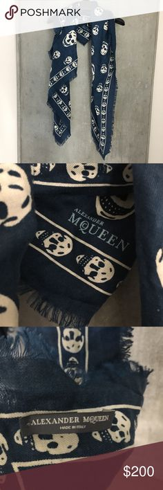 Alexander McQueen Skull Scarf Authentic, in excellent condition.  Gorgeous blue color, and great size that can be wrapped in a multitude of ways. Alexander McQueen Accessories Scarves & Wraps