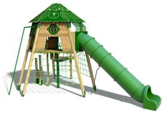 Tree House with Plastic Tube Slide - Wicksteed Playgrounds