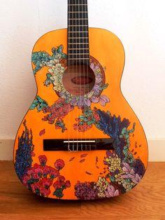 handpainted by suzanne van gils Music Guitar, Cool Guitar, Guitar Art Diy, Arte Do Ukulele, Painted Ukulele, Painted Guitars, Ukulele Design, Guitar Painting, Music Aesthetic