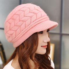 0b360ec3877 Fall Hats for Women Beanies Rabbit Fur Hat Winter Ladies Fashion Warm  Knitted Skullies Beanies Cap Gifts For Women Gorras