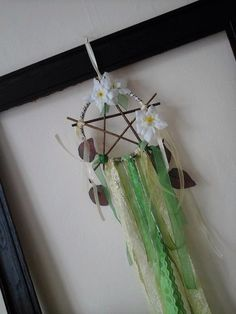 willow pentagram,willow pentacle,altar decor,altar item,willow dream catcher,pagan wall hanging,flower dream catcher,pentagram,pentacle by heARTofNatureStudio on Etsy https://www.etsy.com/uk/listing/469763667/willow-pentagramwillow-pentaclealtar