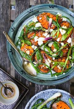 Grilled sweet potato and green onion salad recipe. A warm, comforting, SIMPLE weeknight meal or weekend lunch. Light and fresh, and would be very filling served alongside some grilled chicken or fish.