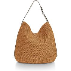 Rebecca Minkoff Sardinia Straw Leather-Trim Hobo Bag ($225) ❤ liked on Polyvore featuring bags, handbags, shoulder bags, beige shoulder bag, rebecca minkoff purse, handbags purses, hobo handbags and rebecca minkoff