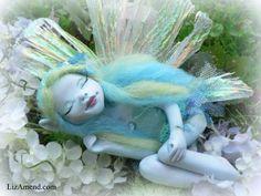Ooma Blue Garden Faery Elf Fairy Pixie Magic Fantasy OOAK Art Doll by Liz Amend