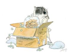 Moving Day Pug Card - Housewarming Card, Housewarming Invitation, Moving Announcement, Moving Card, Pug Art Illustration by InkPug! Pug Illustration, Pug Cartoon, Housewarming Card, Pug Mug, Cute Pugs, Funny Pugs, Moving Day, Pug Life, Little Dogs