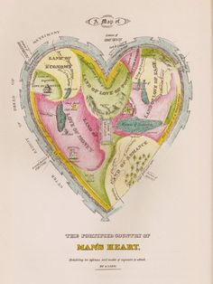 "Map of the Open Country of a Woman's Heart and Map of the Fortified Country of a Man's Heart, ostensibly and anonymously drawn ""by a lady"" and published by the Kellogg Brothers of Hartford, Connecticut in the 1830s."