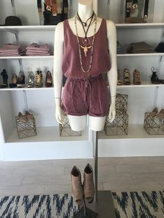 ONE ITEM, INSTANT STYLE! This vintage washed romper is an employee favorite. @dressmingle is open every Saturday from 9am-3pm. #dressmingle #vintagewashed #romper #steerhead #layerednecklaces #lotd #instantstyle