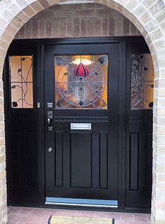 56 Best Ideas For House Front Door Art Nouveau Front Door Porch, Porch Doors, Front Doors With Windows, Wooden Front Doors, Front Door Entrance, House Front Door, Front Door Colors, Glass Front Door, House Entrance