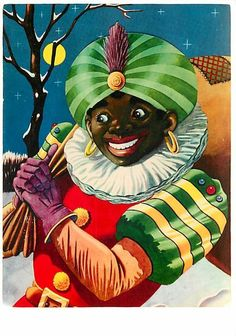 Black Pete, sometimes known as Little Pete. He's a sidekick to St.Nicholas in Holland who keeps the list of good children and bad children.
