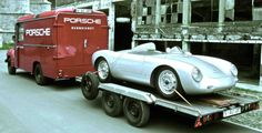 in Belgium: Porsche with Opel Blitz Transporter Porsche Classic, Classic Cars, Le Mans, Porsche 356 Speedster, Porsche 911, Porche Car, Nascar, Volkswagen, Porsche Factory