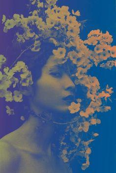 Sakura by Sayaka Maruyama - Surreal Floral Portrait Mucha Art Nouveau, Image Beautiful, Cyanotype, Illustration, Portraits, Land Art, Portrait Photography, Photography Gallery, Beauty Photography