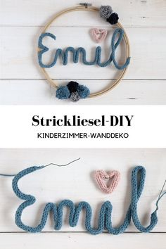 Strickliesel DIY - Children's room wall decoration: ideas for Strickliesel names in the embroidery hoop. Strickliesel ideas can be very diverse. The Strickliesel font can be staged differently and is not just a beautiful children's room decoration. Decoration Bedroom, Nursery Wall Decor, Room Decor Bedroom, Balcony Decoration, Home Decoration, Balcony Ideas, Room Decorations, Diy Kids Room, Diy Wanddekorationen