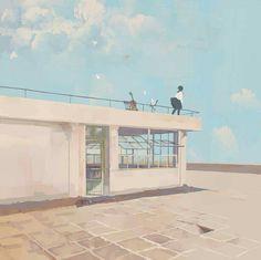 파스텔 I want to have a rooftop in my shool like this♥