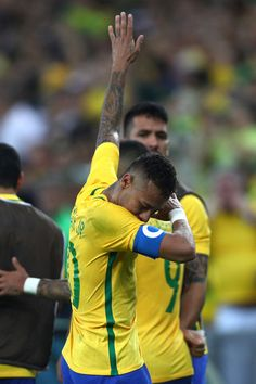 Neymar Photos - Neymar of Brazil reacts after opening the scoring during the Men's Football Final between Brazil and Germany at the Maracana Stadium on Day 15 of the Rio 2016 Olympic Games on August 20, 2016 in Rio de Janeiro, Brazil. - Brazil v Germany - Final: Men's Football - Olympics: Day 15