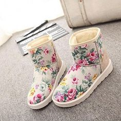 New Fashion Womens Casual Winter Floral Round Toe Flat Plush Thicken Short Snow Boots