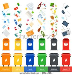 Garbage cans vector flat illustrations. Many garbage cans with sorted garbage…