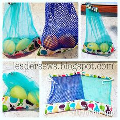 Leader Sews : DIY Produce Bag (full tutorial) - Bags and Purses 👜 Sewing Hacks, Sewing Tutorials, Sewing Patterns, Tutorial Sewing, Bag Tutorials, Sewing Tips, Fabric Crafts, Sewing Crafts, Patchwork Quilt
