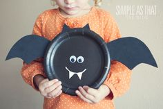 simple as that: Simple Halloween Kids Craft: Paper Plate Bat, Pumpkin and Frankenstein