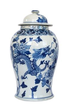 Blue and White Chinese Ginger Jar with Dragons and Peonies – The Pink Pagoda