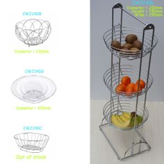 Chrome metal Fruits Baskets Bowls 3 tier Wire Rack Stand Unit Holder Storage | eBay (£5.49)