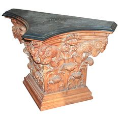 19th Century Italian, Carved Pine Neoclassical Console | From a unique collection of antique and modern console tables at https://www.1stdibs.com/furniture/tables/console-tables/