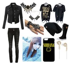 """""""Nirvana"""" by deathbecameher on Polyvore featuring LE3NO, Philipp Plein, Chicnova Fashion and Frends"""