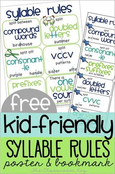 Kid-Friendly Syllable Rules – The Classroom Key FREE kid friendly syllable rules poster and bookmark, help students tackle the decoding of longer words with these tools! A great addition to phonics instruction in and grade! Phonics Rules, Teaching Phonics, Phonics Activities, Teaching Reading, Listening Activities, Phonics Centers, Teaching Spanish, Kindergarten Reading Activities, Phonics Lessons