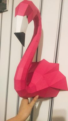 Papercraft Flamingo Paper Craft sculpture animal head trophy low poly sculpture template pepakura pdf kit origami bird home decor Low Poly, 3d Paper Crafts, Paper Crafting, 3d Models For Printing, Origami 3d, Origami Paper, Oragami, Crafts To Make, Diy Crafts