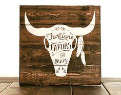 Fortune Favors the Brave Skull Pallet Art