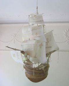 Papier mache ship by Ann Wood Ann Wood, Diy And Crafts, Paper Crafts, Ghost Ship, Coastal Bedrooms, Paperclay, How To Make Paper, Sailing Ships, Paper Art