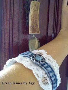 @: Recycled Denim Jeans Bracelet Tutorials